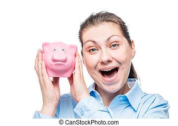 青いシャツ, 成功した, 女性実業家, 上に, 小豚, 背景, 感情的, 白, 銀行