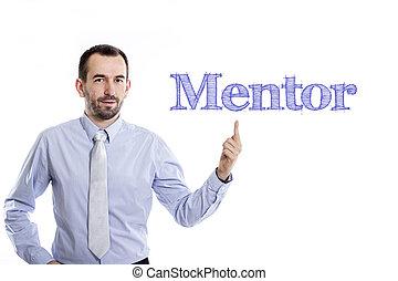 青いシャツ, 指すこと, -, の上, 若い, 助言者, 小さい, ビジネスマン, ひげ