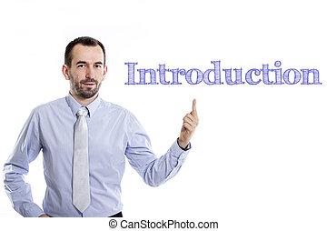 青いシャツ, 指すこと, イントロダクション, -, 若い, の上, 小さい, ビジネスマン, ひげ