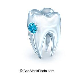 青いダイヤモンド, 上に, イラスト, 歯, 白, 3d