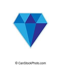 青いダイヤモンド, 大きい, 暗い背景, 白