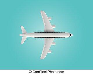 青いトップ, 現代, バックグラウンド。, 航空機, 光景