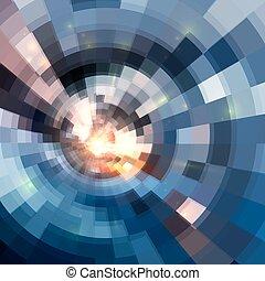 青いトンネル, 抽象的, 背景, 円, 照ること