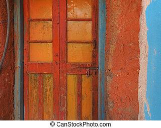 青いドア, 古い, 作成される, 木製である, 色, wall., 明るい, 黄色, 背景, グランジ, 正方形, 長方形, 赤