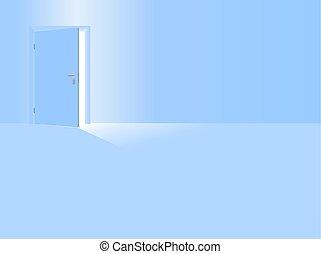 青いドア, 部屋, 男の子, 託児所, 赤ん坊, 開いた