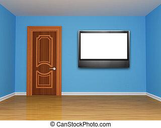 青いドア, 部屋, 空
