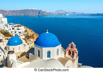 青いドーム, oia, ギリシャ語, santorini, 教会