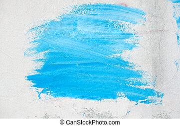 青いペンキ, 壁