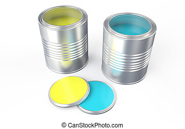 青いペンキ, 缶, 黄色
