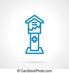 青いボックス, 単純である, 寄付, ベクトル, 線, アイコン