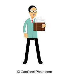 青いボックス, 特徴, イラスト, 地位, ジャケット, ベクトル, ビジネスマン, 文書, 漫画