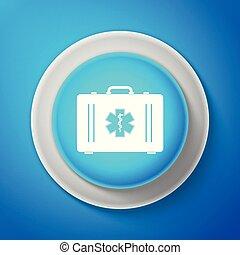 青いボックス, 生活, 星, 緊急事態, ライン。, シンボル, -, 隔離された, イラスト, バックグラウンド。, ベクトル, ボタン, 援助, 円, 最初に, 医学, 白, アイコン