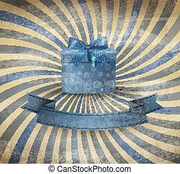 青いボックス, 贈り物, ベクトル, 背景, 休日, リボン