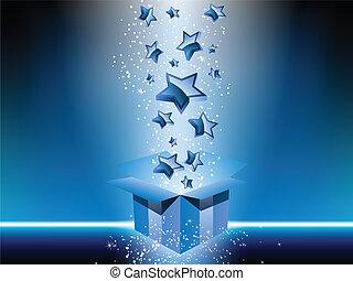 青いボックス, 贈り物, stars.