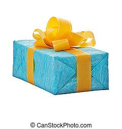 青いボックス, 黄色, ギフトの弓