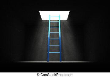 青いライト, はしご, -, 暗い, 出口