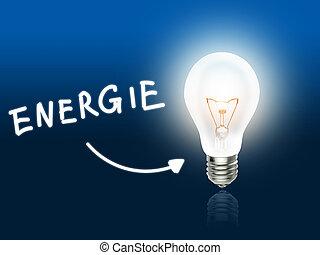 青いライト, エネルギー, ランプ, energie, 電球