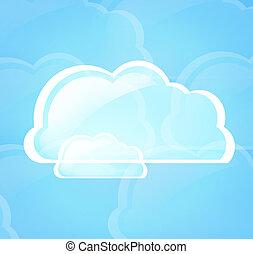 青いライト, シンボル, 雲, 計算
