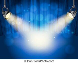 青いライト, スポット, 黄色, ベクトル, 背景, カーテン, lights.