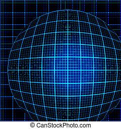青いライト, 光線, 3d, mosaic.