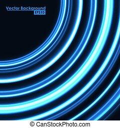 青いライト, 抽象的, 白熱, circles., 背景