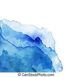 青いライト, 抽象的, 隔離された, 水彩画, 波状, 背景, 白