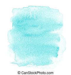 青いライト, 抽象的, 隔離された, 水彩画, 背景, ブランク, ほんの少し