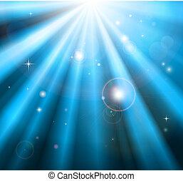 青いライト, 明るい, 光線, 背景