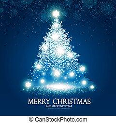 青いライト, 木, イラスト, effects., ベクトル, 背景, クリスマス, 照ること