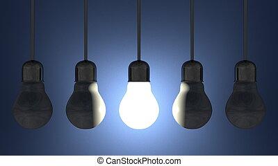 青いライト, 白熱, 死んだ, ランプ, 一人一人, 掛かること, 電球, ソケット