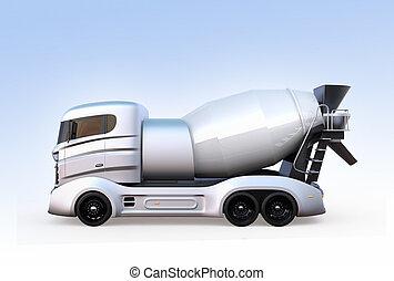 青いライト, 隔離された, ミキサー, コンクリート, トラック, 背景, サイド光景