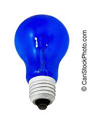 青いライト, 隔離された, 背景, 白, 電球