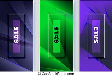 青い三角形, elements., 縦, 抽象的, ネオン, banners., 緑の背景, すみれ, デザイン