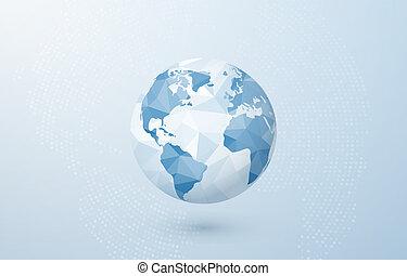 青い地球, 抽象的, planet., map., イラスト, 創造的, polygonal, ベクトル, 背景, 世界, 地球, concept.