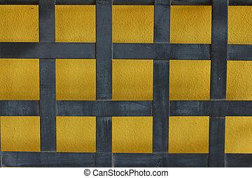 青い壁, しまのある背景, 黄色