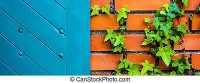青い壁, れんが, ドア