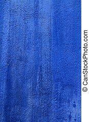 青い壁, グランジ, 手ざわり, 背景