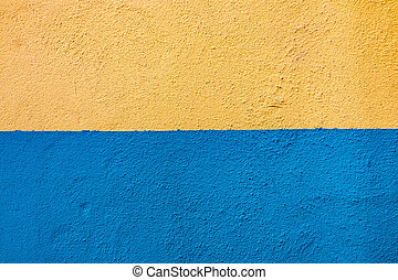 青い壁, 黄色の背景
