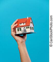 青い家, イメージ, 背景, 手, 空