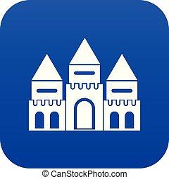青い家, デジタル, 城, 子供, アイコン