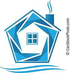 青い家, ベクトル, アイコン, ロゴ