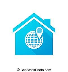 青い家, 地球, アイコン, 世界
