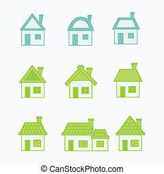 青い家, 抽象的, 緑, アイコン