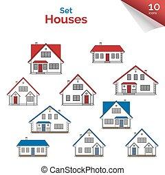 青い家, 灰色, colors., 白, プロジェクト, 赤