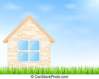 青い家, 空, 背景