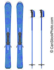 青い山地, スキーをする, 雪片, イラスト