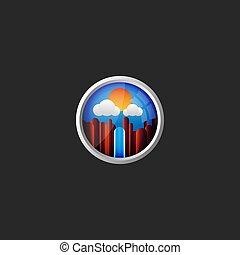 青い山地, ラウンド, 雲, 勾配, フレーム, 代理店, 空, 滝, オリジナル, 窓, 飛行機, 背景, ロゴ, 光景, 旅行, 風景, 3d