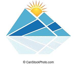 青い山地, ロゴ