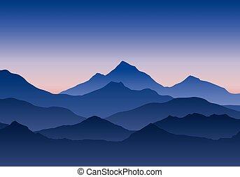 青い山地, 夕方, 空, イラスト, 朝, 日没, 風景, 下に, ∥あるいは∥, 日の出