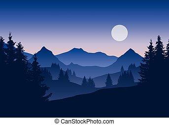 青い山地, 夕方, 空, イラスト, 朝, 風景, 日没, 森林, 下に, 月, ∥あるいは∥, 日の出